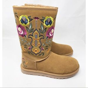 RARE UGG CHESTNUT JULIET EMBROIDERED BOOTS 8